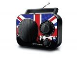 Radio de 2 bandas con diseño de bandera británica con entrada AUX