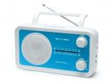Radio portátil de 4 bandas con puerto aux para conexion mp3 color azul y blanco